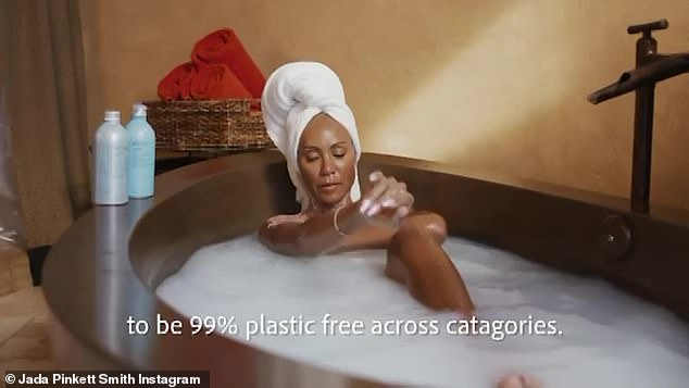 Jada Pinkett Smith luxuriously soaks in the bathtub as she announces her new line of sustainable skincare productsJada Pinkett Smith luxuriously soaks in the bathtub as she announces her new line of sustainable skincare products